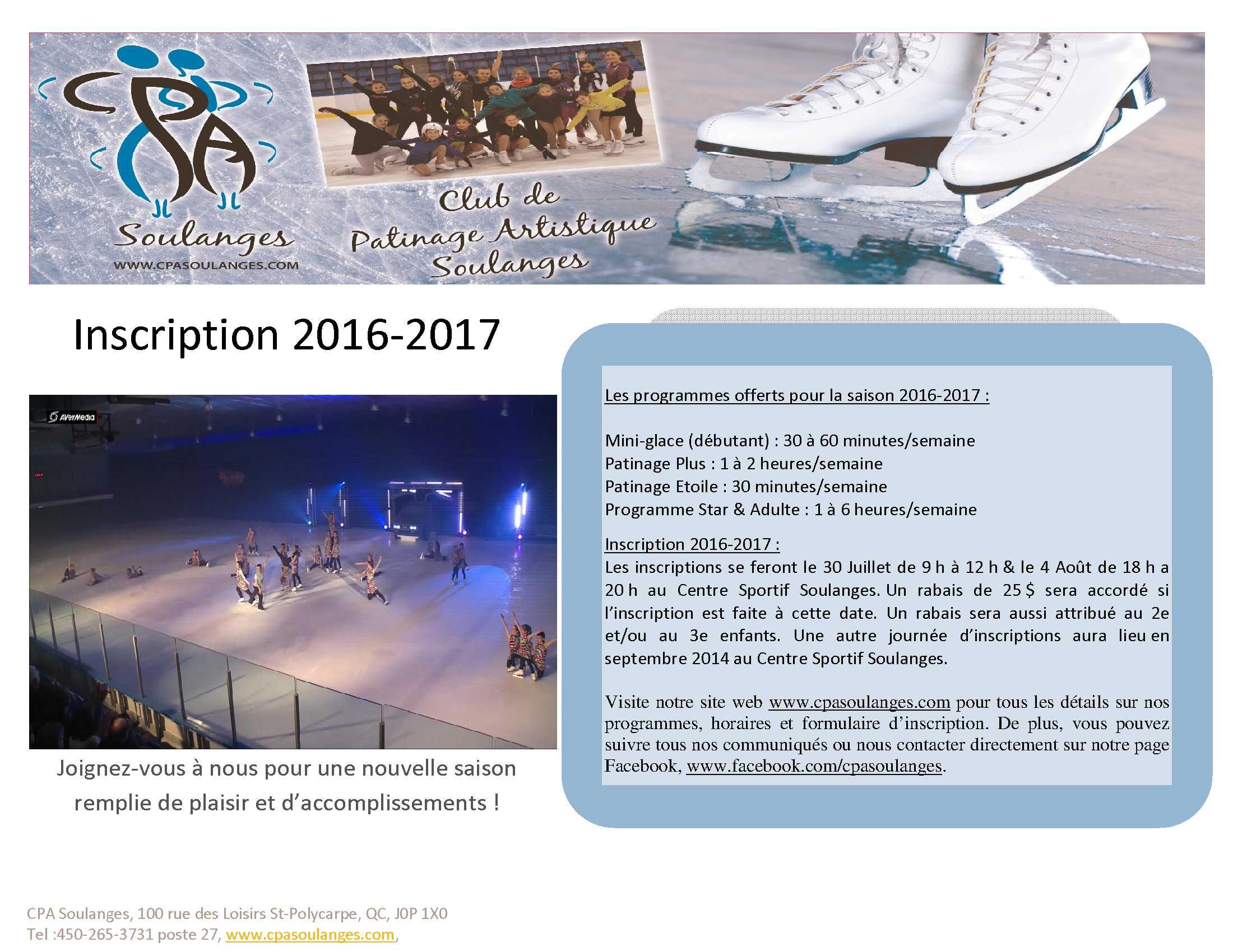 pamphlet insciption 2016-2017 cpa soulanges